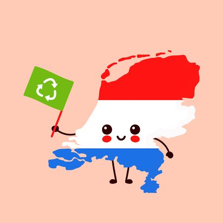 Cute funny smiling happy kawaii Netherlands map character with recycle  flag. Vector cartoon character illustration icon.Netherlands ecology,recycle concept