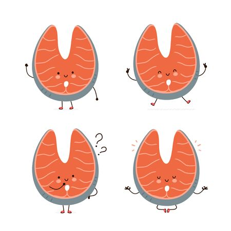 Cute happy red fish salmon character set collection. Isolated on white background. Vector cartoon character illustration design, simple flat style. Red fish salmon walk,jump,think,meditate concept