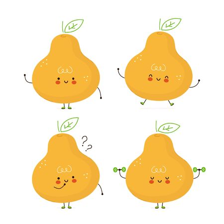 Cute happy peat fruit set. Isolated on white background. Vector cartoon character illustration design,simple flat style. Pear character bundle, collection concept