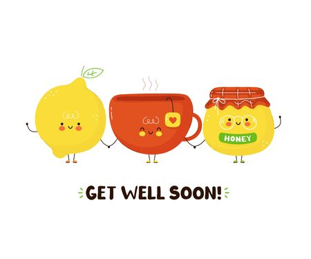 Cute happy tea cup,honey and lemon. Isolated on white background. Vector cartoon character illustration card design,simple flat style. Get well soon card,poster design concept