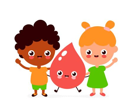 Cute smiling happy boy,girl and blood drop. Vector flat cartoon character illustration.Isolated on white background.Blood donation for kids concept
