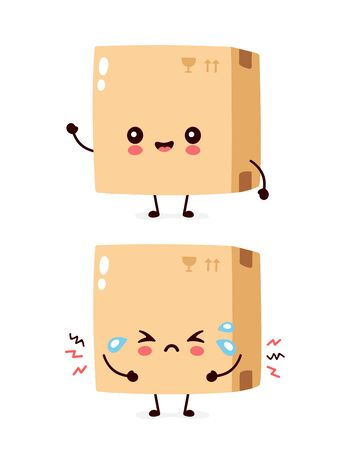 Cute smiling happy and sad parcel,delivery box. Vector flat cartoon character illustration.Isolated on white background.Delivery box character concept