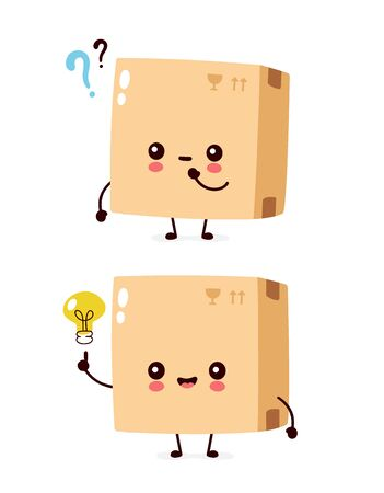 Cute smiling happy parcel,delivery box with question mark and idea lightbulb. Vector flat cartoon character illustration.Isolated on white background.Delivery box character concept