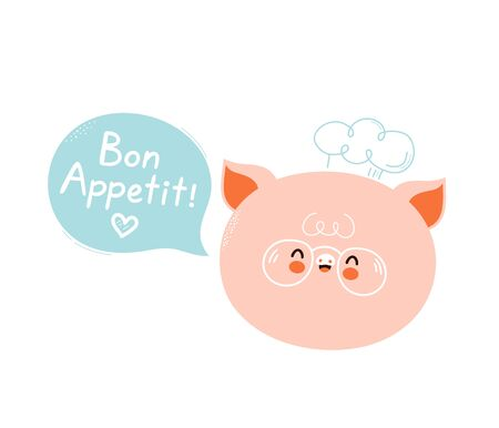 Cute happy smiling pig chef with speech bubble. Bon appetit slogan. Isolated on white background. Vector cartoon character illustration design,simple flat style. Cute pig chef card,poster concept Illusztráció