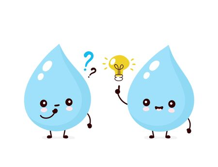 Cute smiling happy water drop with question marks and light bulb. Vector flat cartoon character illustration.Isolated on white background.Water drop character concept