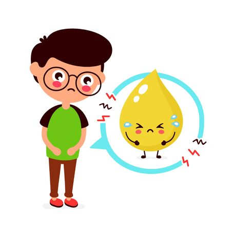 Sad sick young man with urine problem character. Vector flat cartoon illustration icon design. Isolated on white background. Bladder problem,ache concept
