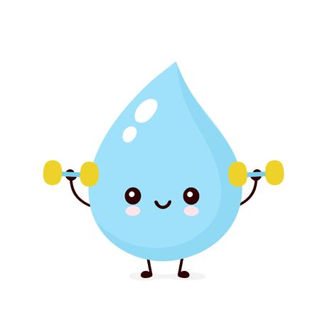 Cute smiling happy water drop with dumbbels. Vector flat cartoon character illustration.Isolated on white background.Water drop character concept