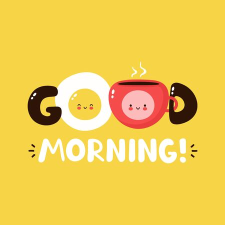 Cute happy fried egg and coffee cup. Vector cartoon character illustration design,simple flat style. Fried egg and cup character concept. Good morning card,poster Stock Illustratie