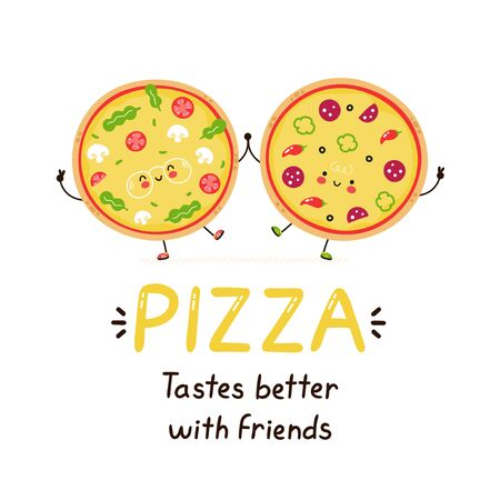 Cute happy smiling pizza friends. Isolated on white background. Vector cartoon character illustration design,simple flat style. Pizza tastes better with friends card. Breakfast food concept