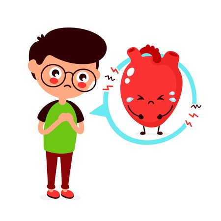Sad sick young man with heart problem character. Vector flat cartoon illustration icon design. Isolated on white background. Heart attack,ache concept
