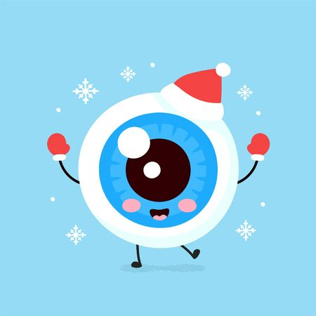 Cute smiling happy eyeball organ in christmas hat and gloves. Vector flat cartoon character illustration. Christmas eye character concept Vettoriali