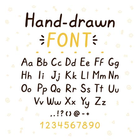 Hand drawn style brush font. ABC big and small letters set collection. Vector doodle style font illustration design. Hand drawn letters concept. Isolated on white background