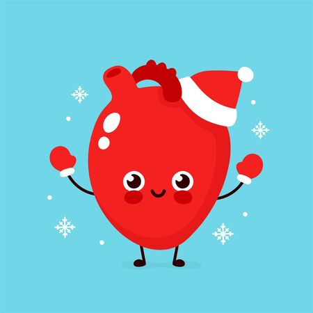 Cute smiling happy heart organ in christmas hat and gloves. Vector flat cartoon character illustration. Christmas heart character concept