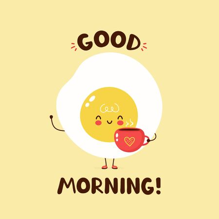 Cute happy fried egg hold coffee cup with heart. Vector cartoon character illustration design,simple flat style. Fried egg and cup character concept. Good morning card,poster,sticker