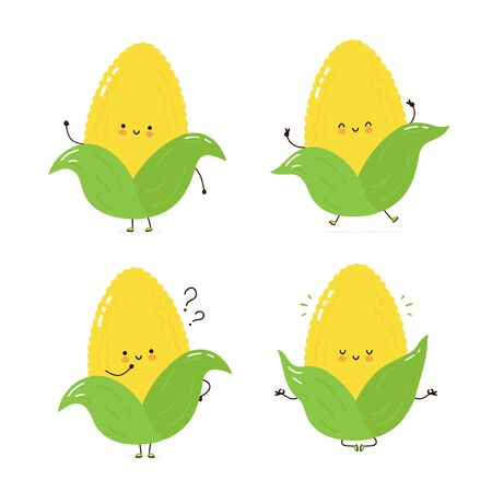 Cute happy corn character set collection. Isolated on white background. Vector cartoon character illustration design, simple flat style. Corn walk,train,think,meditate concept