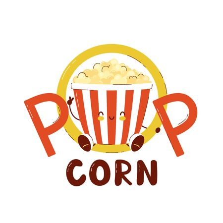 Cute happy popcorn bucket logo. Isolated on white background. Vector cartoon character illustration card design,simple flat style. Popcorn,fast food logo template concept Illusztráció