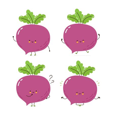 Cute happy Beetroot character set collection. Isolated on white background. Vector cartoon character illustration design, simple flat style. Beetroot walk,train,think,meditate concept 일러스트