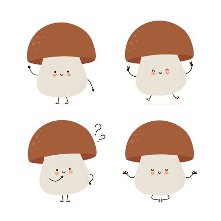 Cute happy mushroom character set collection. Isolated on white background. Vector cartoon character illustration design, simple flat style. Mashroom walk,train,think,meditate concept