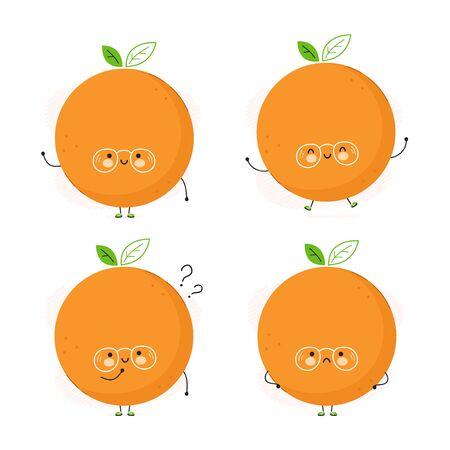 Cute happy orange fruit set. Isolated on white background. Vector cartoon character illustration design,simple flat style. Orange character bundle, collection concept Illusztráció