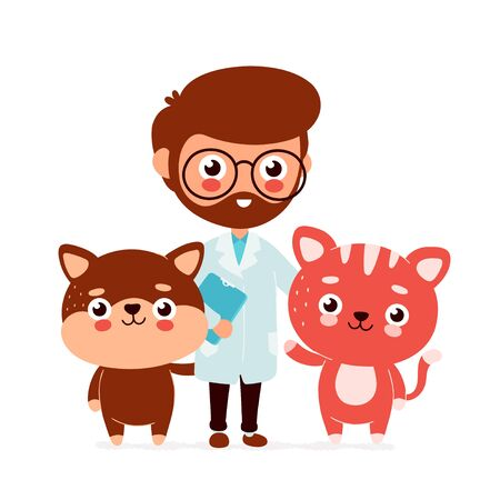 Cute smiling happy veterinarian doctor,cat and dog. Vector flat cartoon character illustration.Isolated on white background.Veterinary,dog,cat concept Stock Illustratie