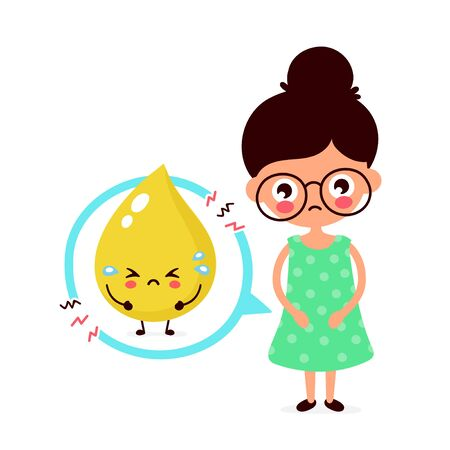 Sad sick young woman with urine problem character. Vector flat cartoon illustration icon design. Isolated on white background. Bladder problem,ache concept