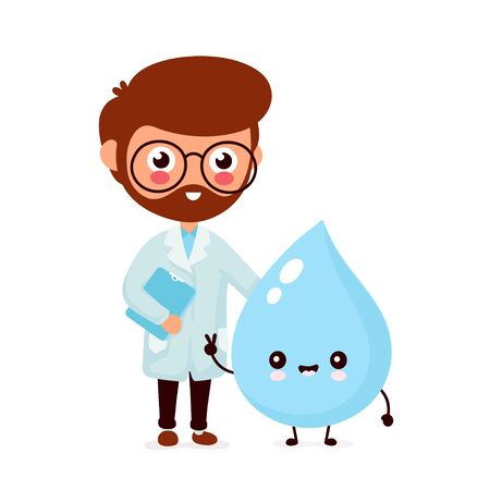 Cute smiling happy doctor and water drop. Vector flat cartoon character illustration.Isolated on white background.Water drop character concept Vectores