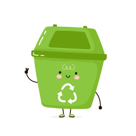 Cute happy trash bin. Isolated on white background. Vector cartoon character illustration design,simple flat style. Recycling, sorted garbage concept Illusztráció
