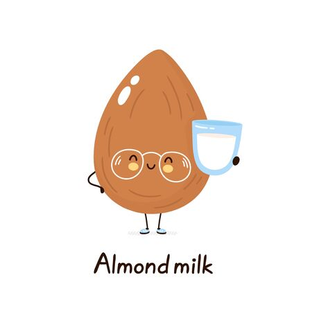 Cute happy smiling plant based almond milk character. Isolated on white background. Vector cartoon character illustration design,simple flat style. Plant almond milk concept