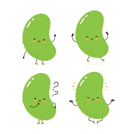 Cute happy cucumber character set collection. Isolated on white background. Vector cartoon character illustration design, simple flat style. Cucumber walk,train,think,meditate concept