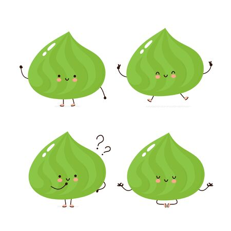 Cute happy wasabi character set collection. Isolated on white background. Vector cartoon character illustration design, simple flat style. Wasabi walk,train,think,meditate concept 일러스트