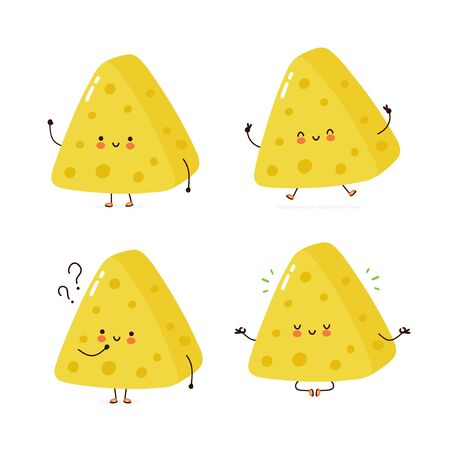 Cute happy cheese character set collection. Isolated on white background. Vector cartoon character illustration design, simple flat style. Cheese bag walk,train,think,meditate concept