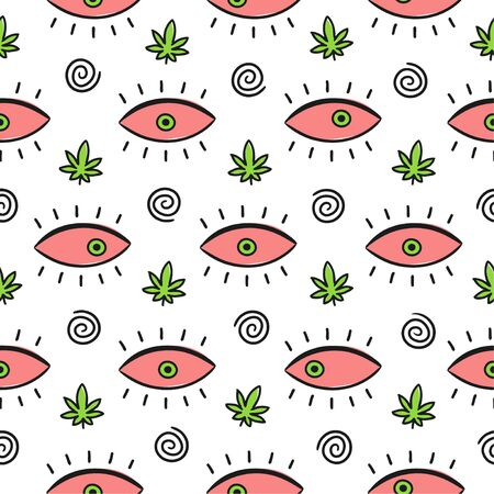 Red eyes,spiral and weed marijuana leaf seamless pattern . Isolated on white background. Vector cartoon illustration design,simple flat style. Psychedelic,weed,cannabis,eyes pattern concept