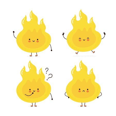 Cute happy fire flame character set collection. Isolated on white background. Vector cartoon character illustration design, simple flat style. Fire character concept