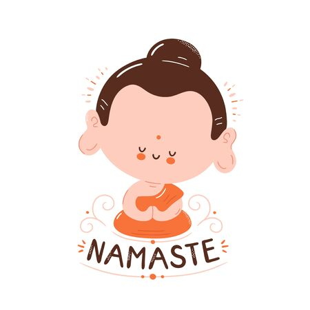Cute happy smiling Buddha meditate in lotus pose. Namaste card. Isolated on white background. Vector cartoon character illustration design,simple flat style. Little Buddha in lotus, Namaste concept