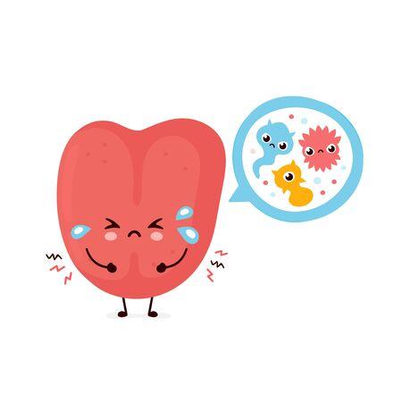 Cute smiling happy human tongue with bacterias. Vector flat cartoon character illustration.Isolated on white background. Human tongue character concept