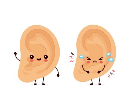 Cute smiling happy human and sad sick ear. Vector flat cartoon character illustration.Isolated on white background. Human ear character concept
