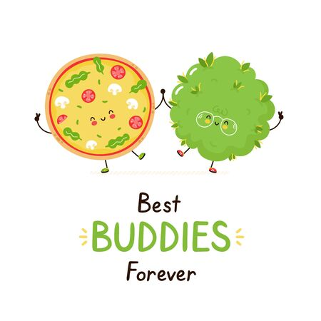 Cute happy smiling pizza and weed bud friends. Isolated on white background. Vector cartoon character illustration design,simple flat style. Best buddies forever card