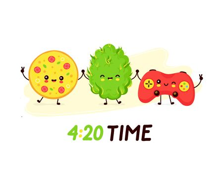 Cute smiling happy pizza,weed bud and console game joystick. 4 20 time card,poster. Vector flat cartoon character illustration.Isolated on white background. Weed smoke concept