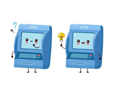 Cute smiling happy ATM with question mark and idea lightbulb. Vector flat cartoon character illustration.Isolated on white background. Automated teller machine, ATM character concept