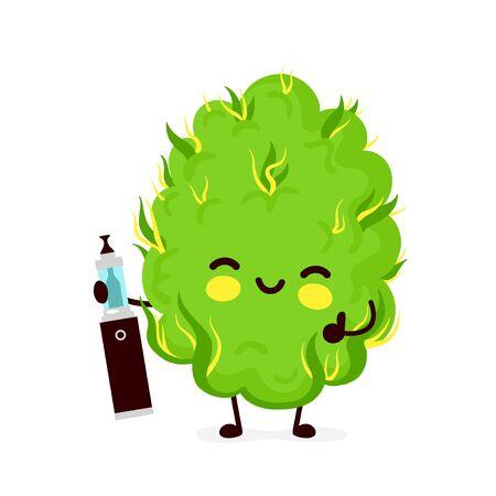Cute funny smiling happy marijuana weed bud with cannabis vape.Vector flat cartoon character illustration icon design. Isolated on white background.Weed bud,marijuana,medical cannabis vape concept Archivio Fotografico - 136959692