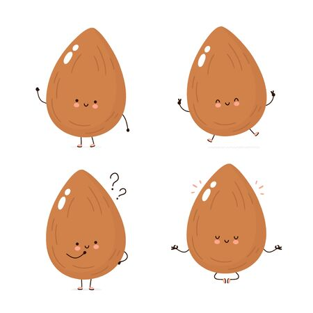 Cute happy almond character set collection. Isolated on white background. Vector cartoon character illustration design, simple flat style. Almond character concept Archivio Fotografico - 136960066