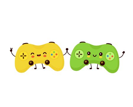 Cute smiling happy game joystick couple. Vector flat cartoon character illustration.Isolated on white background. Joystick character concept Archivio Fotografico - 136960080
