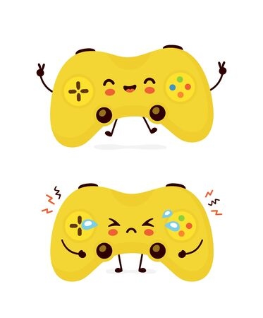 Cute smiling happy and sad game joystick. Vector flat cartoon character illustration.Isolated on white background. Joystick win and lose character concept Archivio Fotografico - 136960081