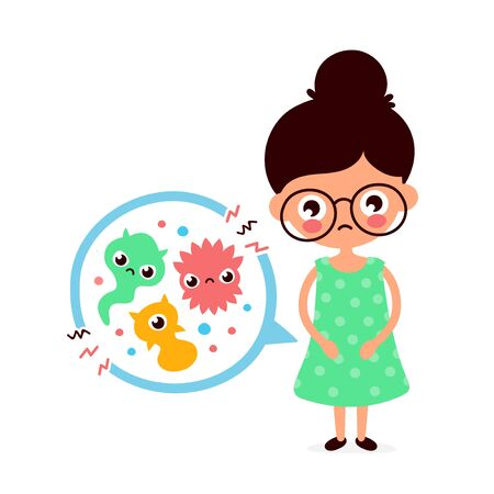 Young sick woman having stomach ache, food poisoning, stomach problems, abdominal pain. Vector flat cartoon character illustration.Medical,bacteria, germs concept Archivio Fotografico - 136960145