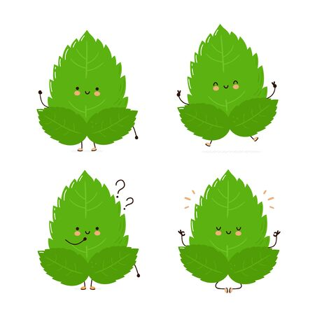 Cute happy mint leaf character set collection. Isolated on white background. Vector cartoon character illustration design, simple flat style. Mint leaf character concept Archivio Fotografico - 136960150