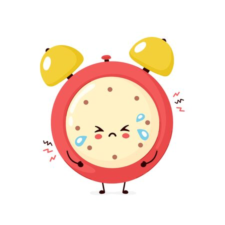 Cute sad cry alarm time clock. Vector flat cartoon character illustration icon design.Isolated on white background. Alarm time clock character concept  イラスト・ベクター素材