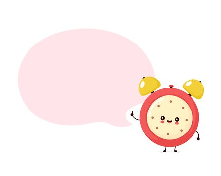 Cute smiling happy alarm time clock and speech bubble. Vector flat cartoon character illustration.Isolated on white background. Alarm time clock character concept Archivio Fotografico - 136960161