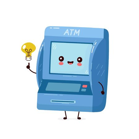 Cute smiling happy ATM with light bulb have idea. Vector flat cartoon character illustration.Isolated on white background. Automated teller machine, ATM character concept Archivio Fotografico - 136960162