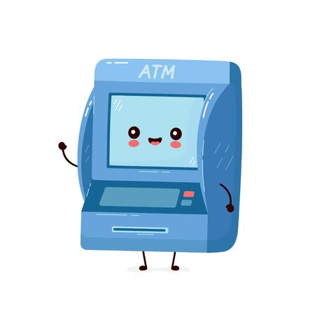 Cute smiling happy ATM. Vector flat cartoon character illustration.Isolated on white background. Automated teller machine, ATM character concept Archivio Fotografico - 136960174