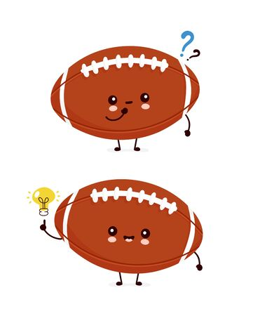 Cute happy american football rugby ball with question mark and idea lightbulb. Vector flat cartoon character illustration icon design.Isolated on white background.  Rugby ball character concept